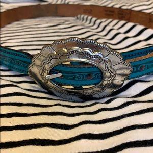 Accessories - Vintage leather Concha belt 34